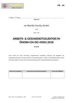 Audit – Ernennung Auditor – 45001_Vorlage