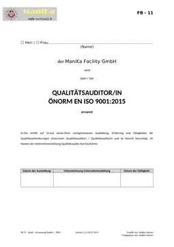 Audit – Ernennung Auditor – 9001_Vorlage