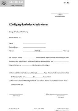 Kündigung Dienstnehmer_Arztpraxis_Vorlage_Muster