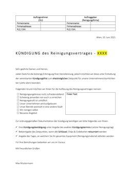 Kündigung Reinigungsfirma (Vorlage)