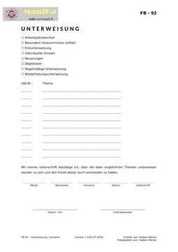 Unterweisung - Einzeln (Vorlage)