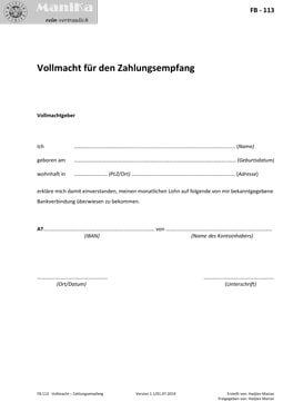 Vollmacht Zahlungsempfang_Arztpraxis_Vorlage_Muster